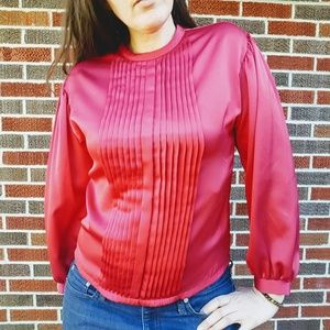 Vintage Pleated Red Blouse